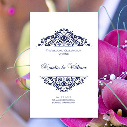 Wedding Program Template Grace Navy Blue