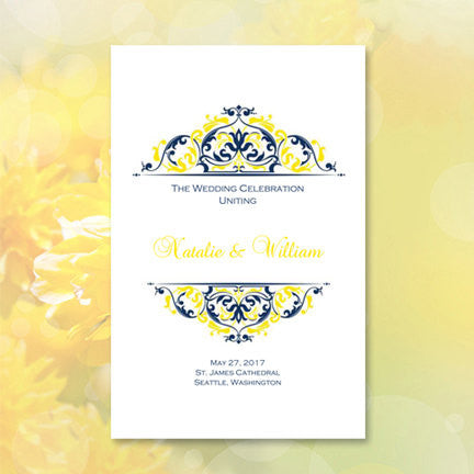 Wedding Program Template Grace Navy Blue Yellow