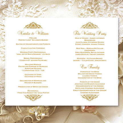 Wedding Program Template Grace Gold