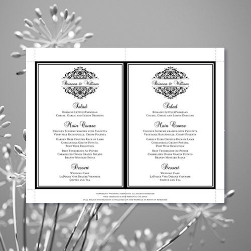 Wedding Reception Menu Template Grace Black White 5x7