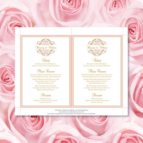 Wedding Reception Menu Template Grace Blush Pink Gold 5x7
