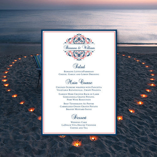 Wedding Reception Menu Template Grace Navy Blue Coral 5x7