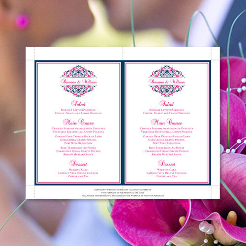 Wedding Reception Menu Template Grace Fuchsia Hot Pink Navy Blue 5x7