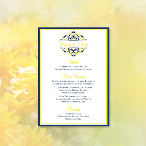Wedding Reception Menu Template Grace Navy Blue Lemon Yellow 5x7