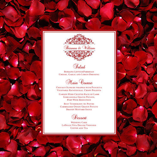 Wedding Reception Menu Template Grace Red 5x7