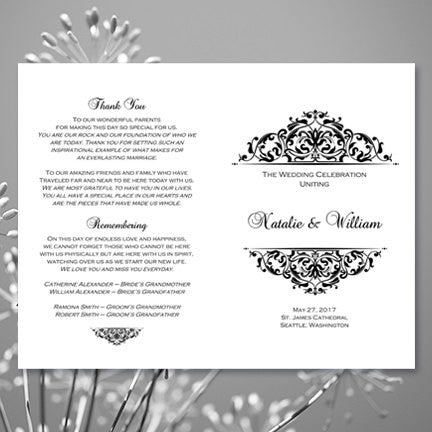 wedding program template grace black white wedding template shop