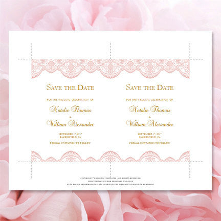Wedding Save the Date Cards Vintage Lace Blush Pink Gold