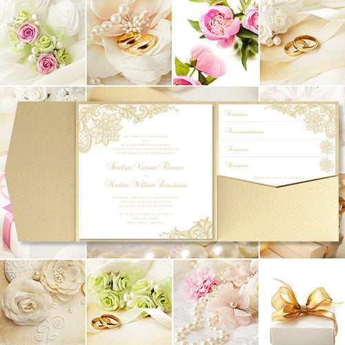 Pocket Fold Wedding Invitations Vintage Lace Champagne 5.75x5.75