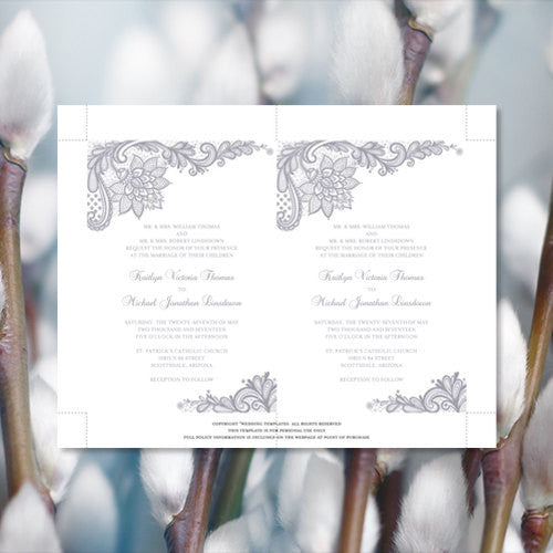 Pocket Fold Wedding Invitations Vintage Lace Silver Gray 5x7