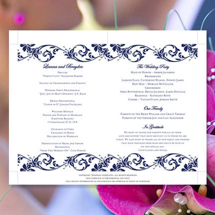 Wedding Program Fan Tropical Damask Navy Blue