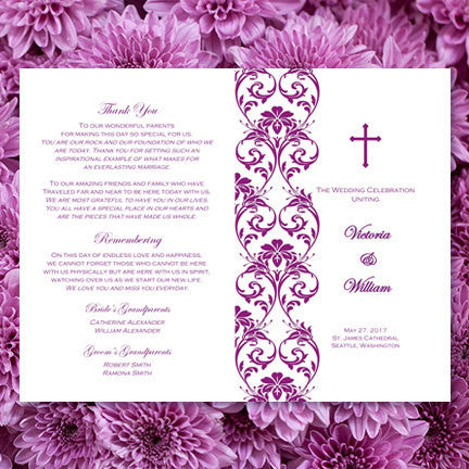 Catholic Church Wedding Program Damask Plum Purple