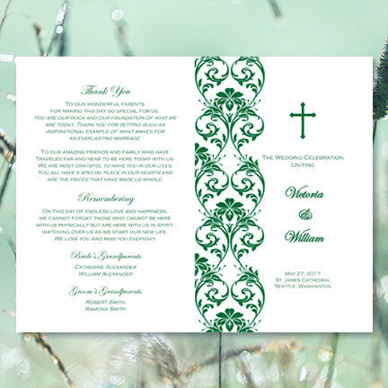 Catholic Church Wedding Program Damask Emerald Green
