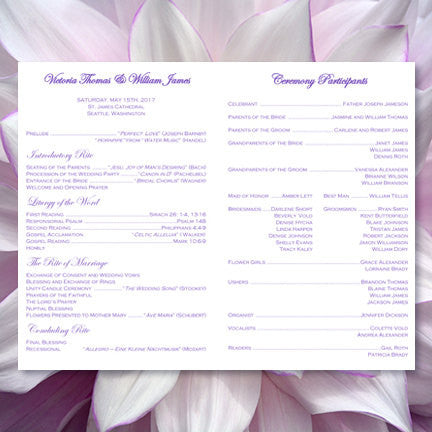 Catholic Church Wedding Program Damask Purple