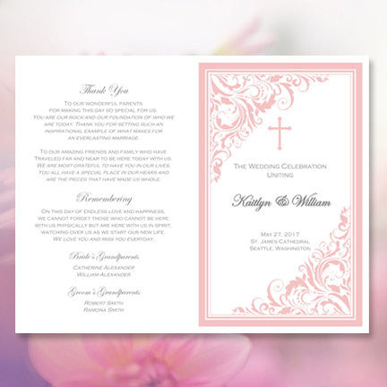 Catholic Wedding Program Brooklyn Pink