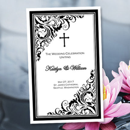 Catholic Church Wedding Program Brooklyn Black White