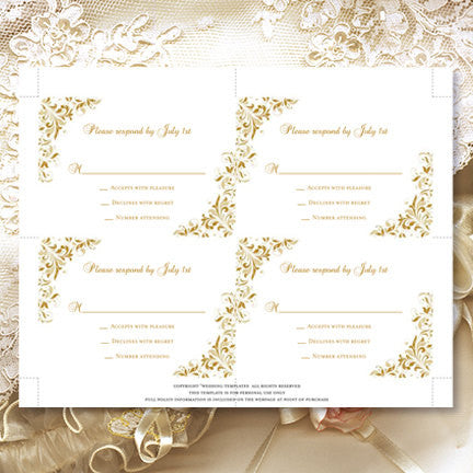 Wedding Response Cards Kaitlyn Gold Champagne