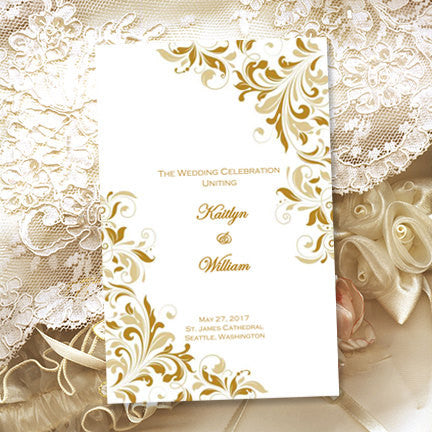 Catholic Church Wedding Program Kaitlyn Gold Champagne