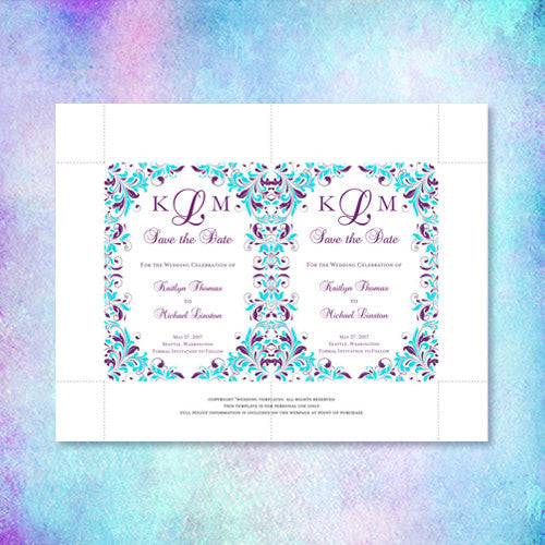 Wedding Save the Date Cards Kaitlyn Purple Turquoise
