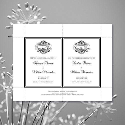 Wedding Save the Date Cards Grace Black