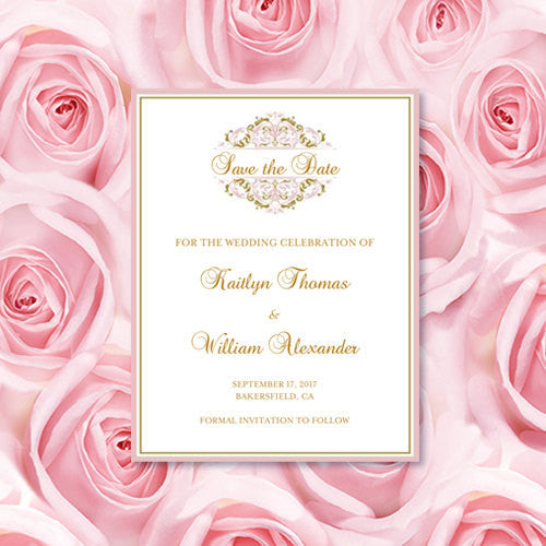 Wedding Save the Date Cards Grace Blush Pink Gold