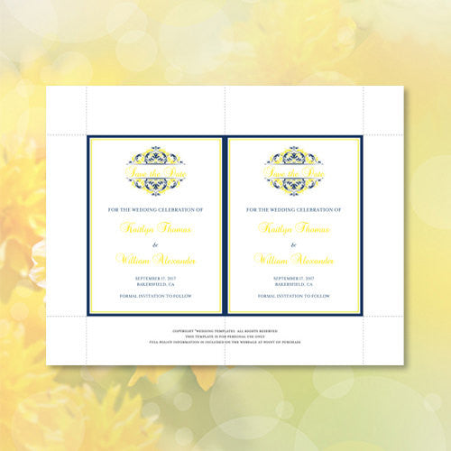 Wedding Save the Date Cards Grace Navy Blue Lemon Yellow