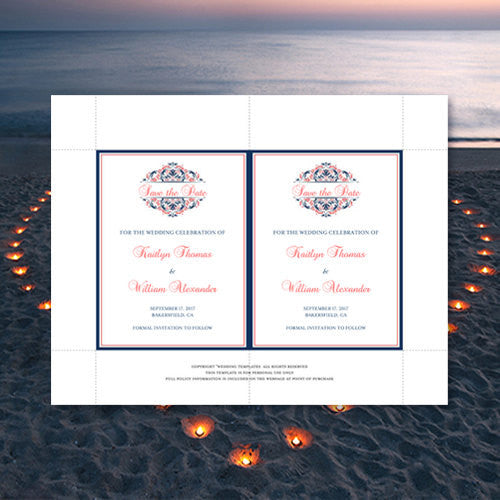 Wedding Save the Date Cards Grace Navy Blue Coral