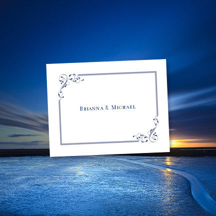 Wedding Thank You Card Elegance Navy Blue