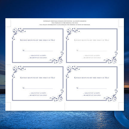 Wedding Response Cards Elegance Navy Blue