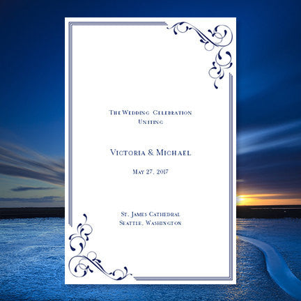 Wedding Program Template Elegance Navy Blue