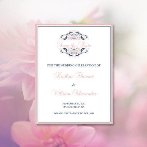 Wedding Save the Date Cards Grace Blush Pink Navy Blue