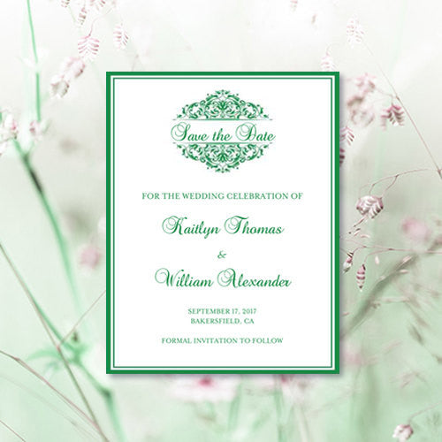 Wedding Save the Date Cards Grace Emerald Green