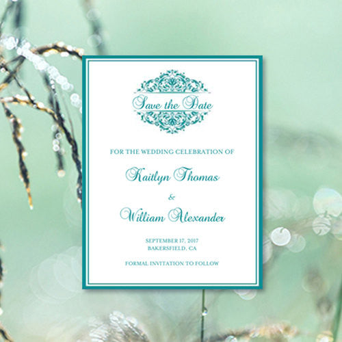 Wedding Save the Date Cards Grace Teal