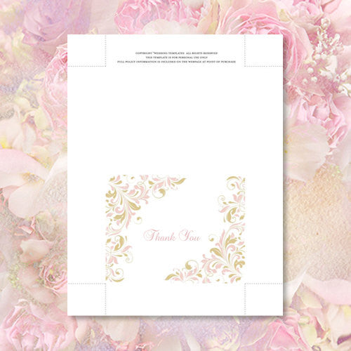 Wedding Thank You Card Kaitlyn Blush Pink Champagne