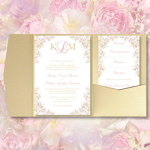 Pocket Fold Wedding Invitations Kaitlyn Blush Pink Champagne 5x7