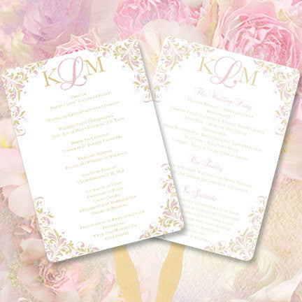 Wedding Program Fan Kaitlyn Blush Pink Champagne Monogram