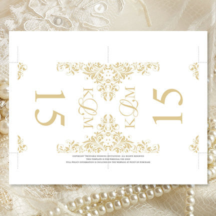 Printable Table Number Template Gold Champagne Tent
