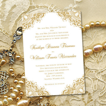 Vintage Wedding Invitation Gold