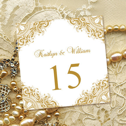 printable table number template vintage gold tent wedding template