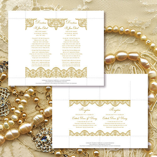 Pocket Fold Wedding Invitations Vintage Lace 2 Gold 5x7