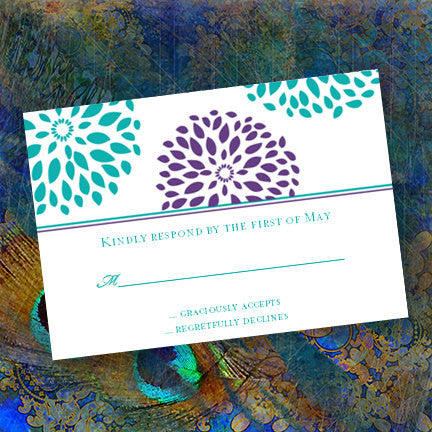 Wedding Response Cards Floral Petals Turquoise Teal Purple