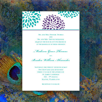 Floral Petals Wedding Invitation Turquoise Teal Purple