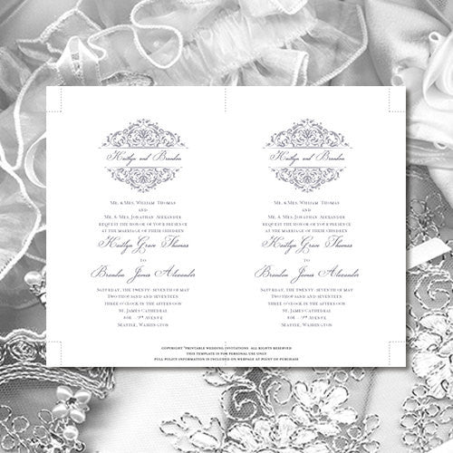 Pocket Fold Wedding Invitations Grace Silver Gray 5x7