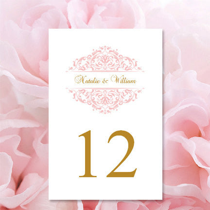 Wedding table number template grace blush pink gold flat wedding template shop for Wedding table numbers template