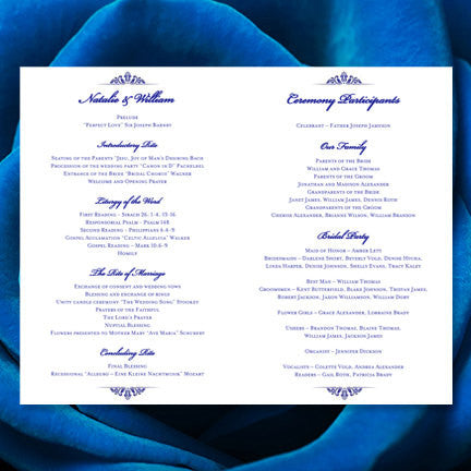 Catholic Church Wedding Program Julia Royal Blue