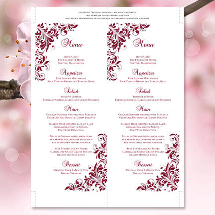 Wedding Menu Card Kaitlyn Burgundy Wine Cranberry Tea Length