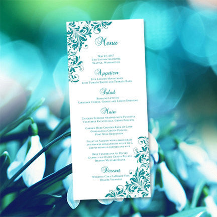 Wedding Menu Card Kaitlyn Teal Tea Length