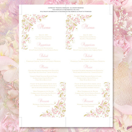 Wedding Menu Card Kaitlyn Blush Pink Champagne Tea Length