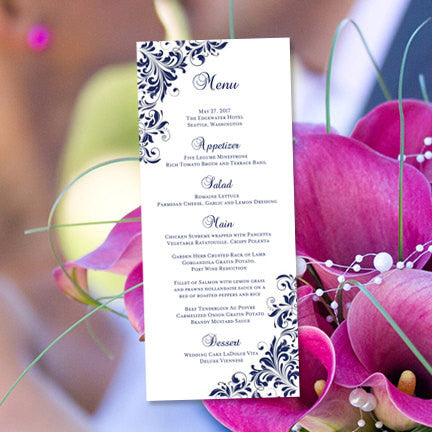 Wedding Menu Card Kaitlyn Navy Blue Tea Length