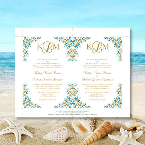 Pocket Fold Wedding Invitations Kaitlyn Teal Gold 5x7