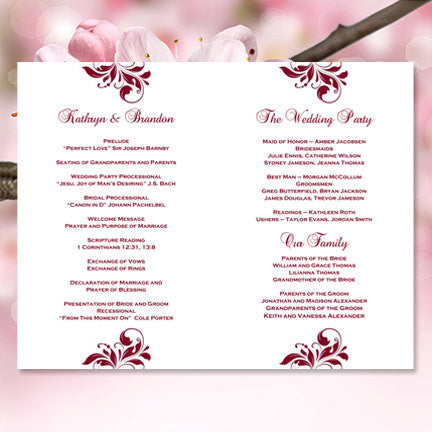 Wedding Program Template Kaitlyn Burgundy Cranberry Wine